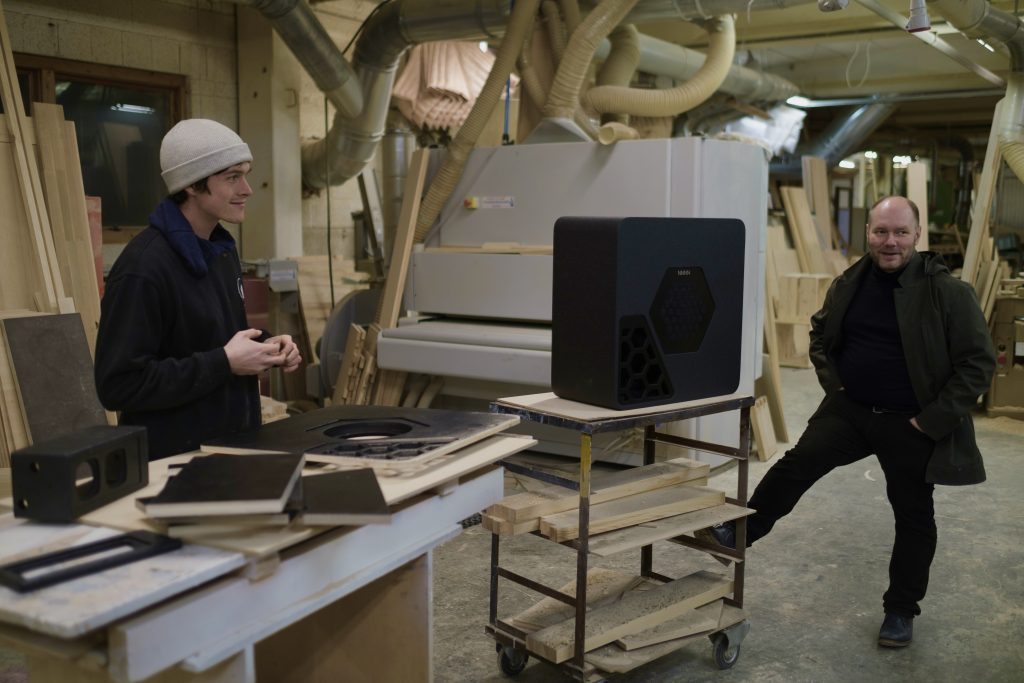 Alexander Fossland and Lars Johan Hereid at Haugen Trevareindustri